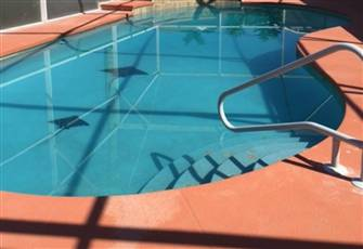 Large oversized pool with large Lanai.  Lanai has TV and Bar