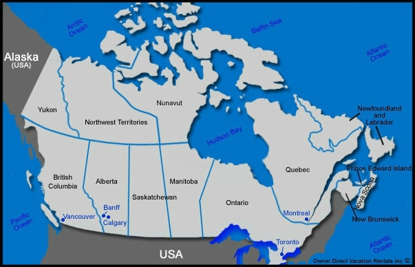 Map of Canada Vacation Rentals