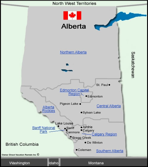 Alberta Vacation Rentals - Map of Alberta, Canada