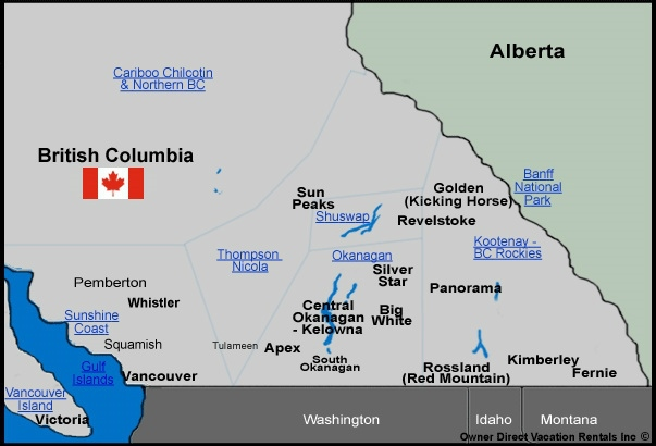 Map of BC Vacation Rentals - Map of BC, Canada