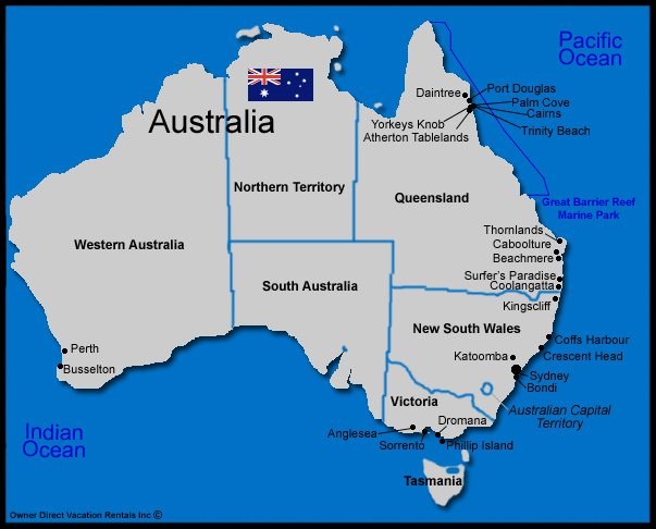 Map of Australia Vacation Rentals