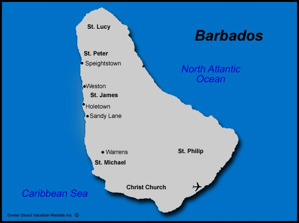 Map of Barbados Vacation Rentals