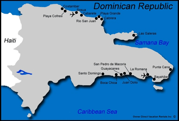 Map of Dominican Republic Vacation Rentals