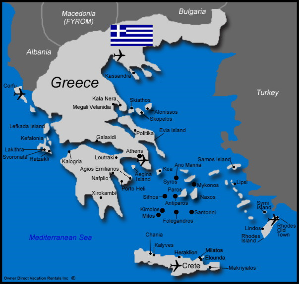 Map of Greece Vacation Rentals