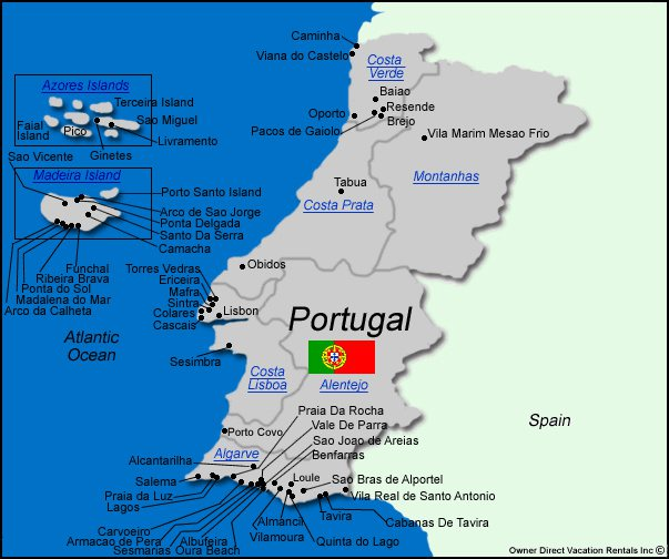 Map of Portugal Vacation Rentals