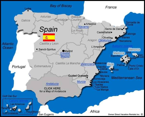 Map of Spain Vacation Rentals - Find a Fabulous Holiday Villa Or Apartment Rental in Spain