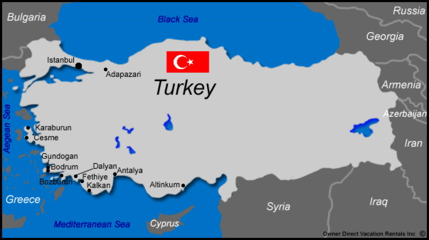 Map of Turkey Vacation Rentals