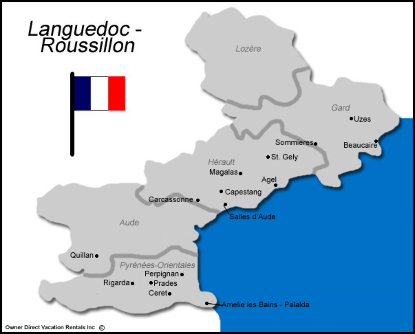 Map of Languedoc Roussillon Vacation Rentals