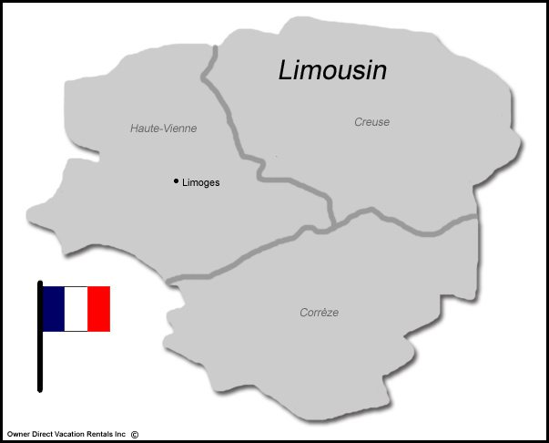 Map of Limousin Vacation Rentals
