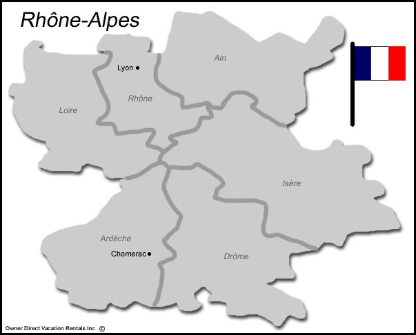 Map of Rhone Alpes Vacation Rentals