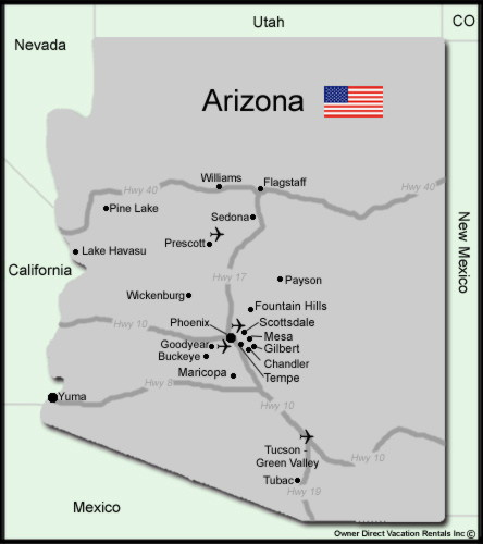 Map of Arizona Vacation Rentals