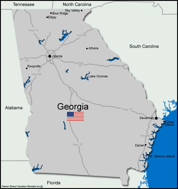 Map of Georgia Vacation Rentals