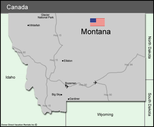 Map of Montana Vacation Rentals