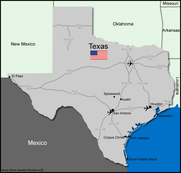 Map of Texas Vacation Rentals