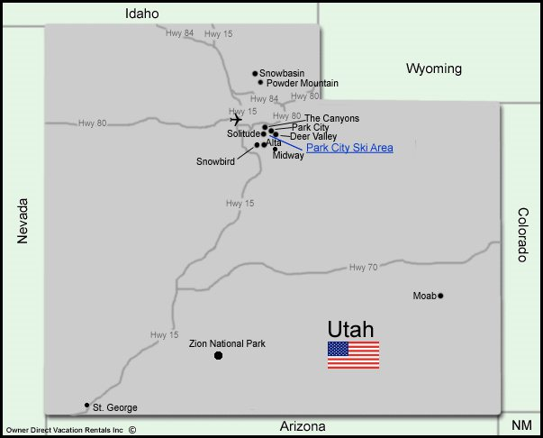 Map of Utah Vacation Rentals
