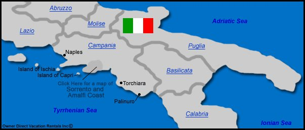Map of Campania Vacation Rentals - Map of Campania, Italy Vacation Rentals