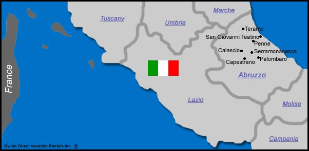 Map of Abruzzo Vacation Rentals