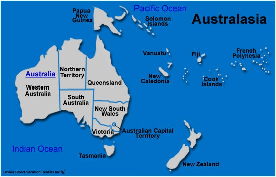 Australasia - Map of Australasia