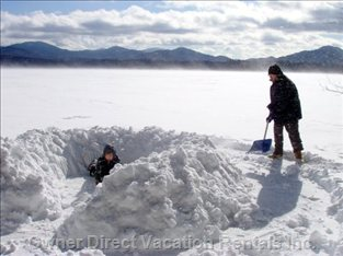 Building a Snow Fort on the Lake