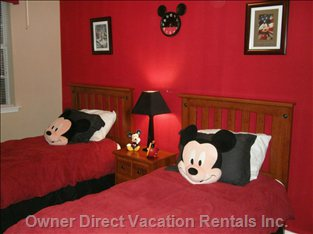 Mickey Themed Children'S Room. Includes a Mickey Mouse TV with Full Digital Cable.