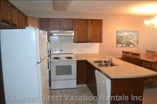 Well-equipped Kitchen with Fridge, Stove, Microwave, Dishwasher and Small Appliances