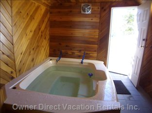 Indoor Hot Tub has Shower and Access to outside