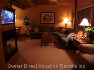 Living Room. Lcd TV & Gas Fireplace on Left