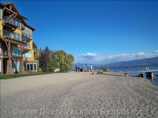 Lake Okanagan, Sandy Beachfront with Dock and Play Area