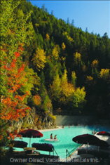 Soaking in the Radium Hot Springs Pools in the Fall with your Complimentary Passes