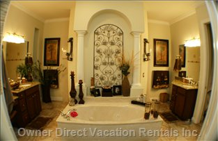 Master Bathroom - Jetted Italian Marble Hot Tub, Walk in Shower, and his and hers Vanities.