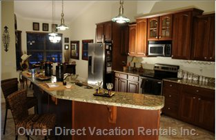 Kitchen with Granite Counter Tops - with Sherry Cabinets,Stainless Steel Appliances, Fully Equipped for 12.