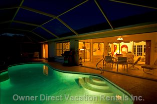 Pool at Night - Solar and Electrical Heated Pool. Enjoy Nice and Mosquito Free Bbqs at your Illuminated Pool.