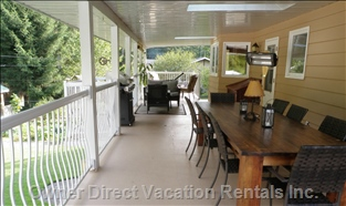 Covered Deck - 550 Sq Foot Covered Deck with Dining Area, Barbeque, Lounge Chairs