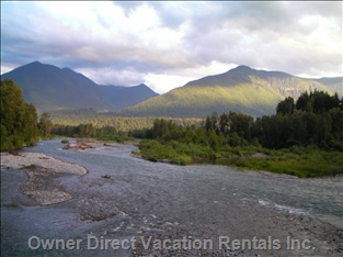 View from Vedder Bridge - the Vedder River (Also Known as the Chilliwack River) is a World-class Salmon Fishing River. Coho Salmon, Chum Salmon, Pink Salmon, Chinook Salmon all Run in the Fall. Winter Run Steelhead Fishing is Also Popular!