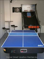 Games Room with Air Hockey, Ping Pong, Darts, Basketball Toss and Bar Stool W 2 Chairs