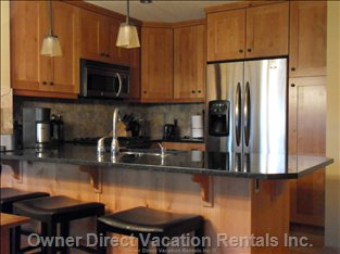 Gorgeous Kitchen - well-Equipped Kitchen with Stainless Steel, Granite Counter & Alder Cabinets, Eating Bar with 3 Stools.