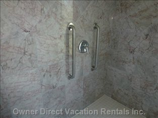 Large Wet Room with Adjoining Sink and Toilet