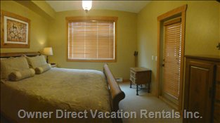 Master Bedroom - King Size Sleigh Bed, Door to Deck and Hot Tub, Ensuite with Slate Steam Shower
