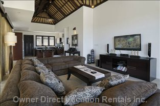 Lounge & Kitchen with Great Balinese Style Ceiling