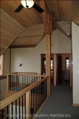 Looking Back from Loft - Beautiful Pine Ceilings and Timber Frame.