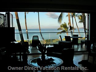 View from inside, Towards Lanai and Oceanview - View Faces West; the most Amazing Sunset Views Can be Enjoyed from the Comfort of your Lanai.