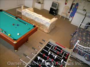Game Room Features Play Station 2, Darts, Pool and Foosball