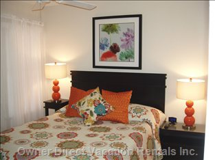 Fit for a Queen!  New Serta Queen Bed, Sensational Decor you Will Adore, and a Wall Mounted Flat Screen TV!