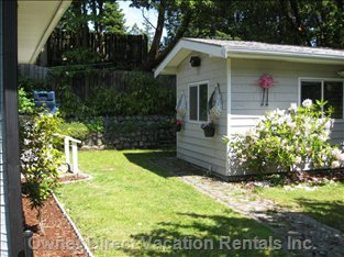 Sports Shed with Golf Clubs and Outdoor Games.  Optional Backyard Entrance to Study and Master Bedroom (to Left)