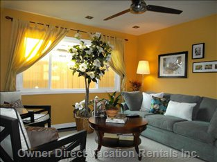 Comfortable Living Room - Plenty of Light Day Or Night.  Breezy, Airy!! Enjoy Watching your Movie and Show on 50 Inch Flat Screen TV.
