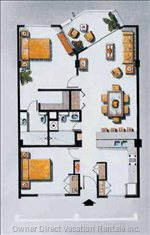 Floor Plan Ground Level 2 Bedroom 2 Bathroom Pool View Unit