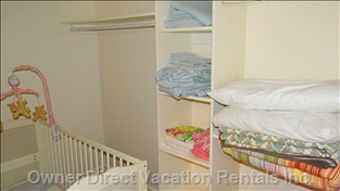 Lower Floor Master Bedroom Walk-in Closet - Crib is Supplied for this Room