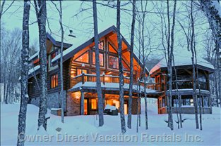 Rear View of House - Enjoy Spectacular Forest Views through the Multitude of Windows While Enjoying a Warm Fire