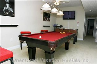 "Game Room with 42"" Plasma, Pool Table, Foosball, Xbox 360."