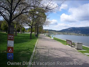 Walk along the Banks of Okanagan Lake - a Morning Stroll to your Favourite Coffee House Or a Walk in the Afternoon Sun Or an Evening Walk by the Lake.